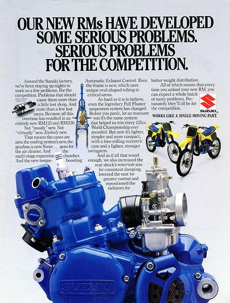 The Suzuki's came out swinging in '86 with blue motors and a bunch of 125 riders.
