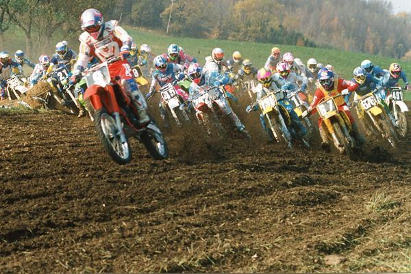 JDonny Schmit, riding as a privateer Honda rider, leads the last 125 National at Unadilla.