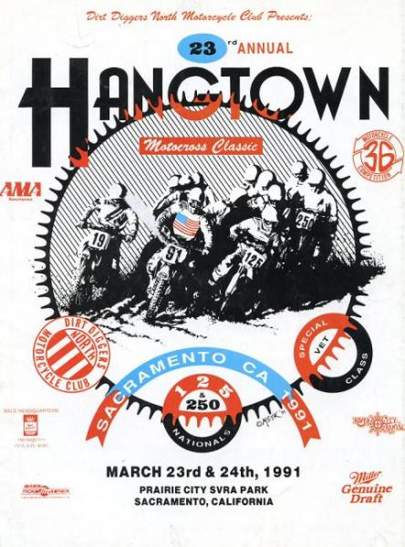 The 1991 Hangtown National would go down in history as one of the muddiest races of all time. Privateers John Dowd and Doug Henry won the 250 and 125 classes, respectively, in the one-moto race.