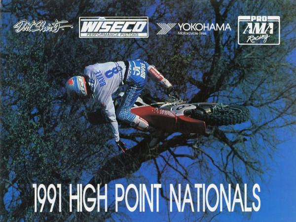 Jean-Michel Bayle lofts his CR250 Honda around Honda Land while preparing for his historic 1991 season; the Tom Webb photo ended up on the cover of the High Point program.