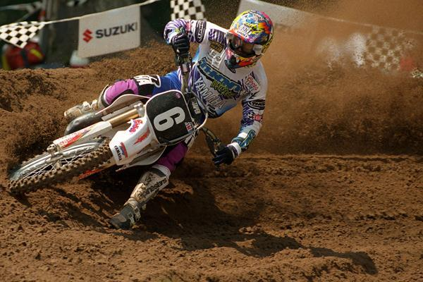 Jeff Emig lays into a Southwick berm in his quest for a second 125cc title.