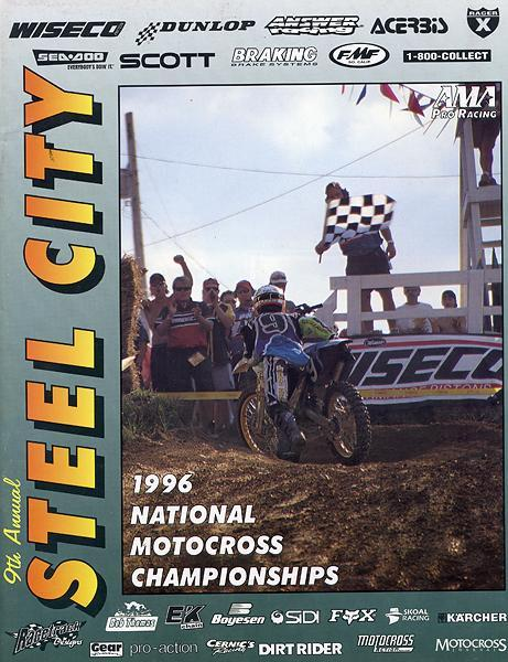 Although Ryan Hughes' unforgettable moment as a racer came to close the '95 season, the photo ended up on the cover of the '96 Steel City program.
