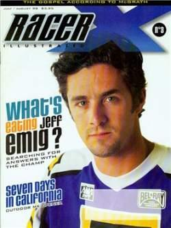 Jeff Emig's meltdown in 1998 led to the one and only Racer X cover that did not include a motorcycle.