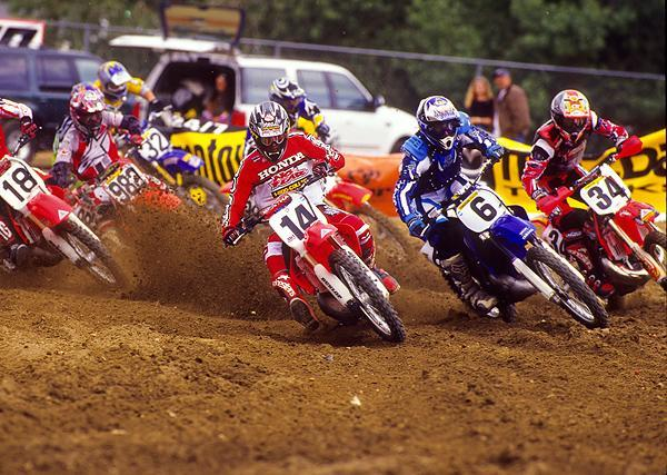 Kevin Windham (14) and John Dowd (6) lead the pack off the start of the '99 Glen Helen National.