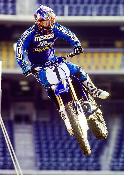 Jeremy McGrath would earn his sixth-career AMA Supercross title in 1999 on a Mazda/Chaparral Yamaha.