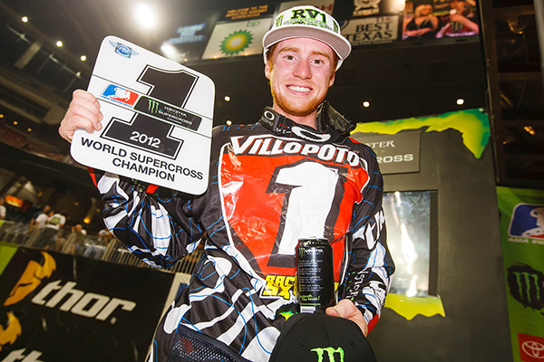 Ryan Villopoto clinched the 2012 450 SX title with four rounds to go, then ended up tearing his ACL at his home race in Seattle.