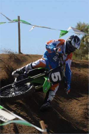 """The turning is a really strong point for the KX250F. I could lay it over really easy in the turns."""