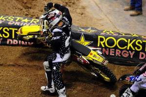 Chad Reed went down in turn two and then dropped out of the race.