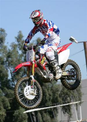 Brett Metcalfe on his new Honda.