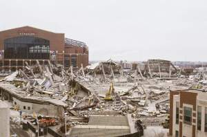 Lucas Oil Stadium stands behind the demolished RCA Dome