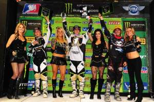 The Lites podium with Pourcel, Stroupe and an ecstatic Broc Tickle.