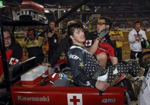 Here's Nicco getting carted off. We won't see him back in action for a little while. It's the year of the heels people!