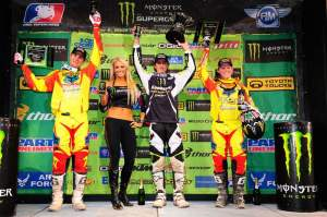 Trey Canard, Ryan Dungey, and Shootout winner Christophe Pourcel