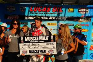 Jarred Browne scored the Muscle Milk Recovery Award for his fifth-place in the second moto at Washougal.
