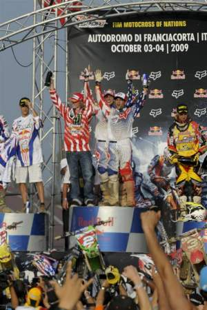 Team USA celebrates on the podium.