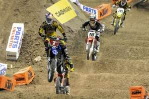 James Stewart (1) came from the back and chased down the two leaders.