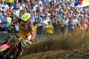 Clement DeSalle came from behind for fourth in the moto, despite a fall.