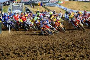 MX2 world champ Marvin Musquin (5) of France got the MX2 holeshot.