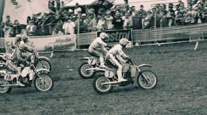 Will went to the '85 MXDN in Germany. Here's a start shot of Thorpe (7) and The Little Professor racing down the German hard-pack.