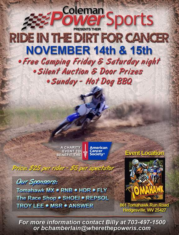 Ride in the Dirt for Cancer Flyer