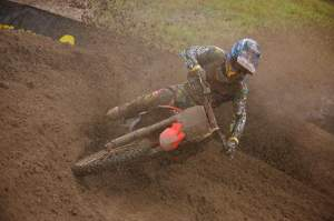 Shorty gets blasted by roost at this year's wet Southwick national.