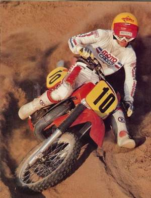 Behold, the 1984 CR480! Errr, wait the CR 500! Well actually, the CR 491! Check out the M Robert boots and the picture perfect form in the berm.