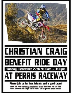 Head out to Perris Raceway to help support Christian Craig.
