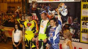 Brown, Crockard, and Facciotti on the SX1 podium.