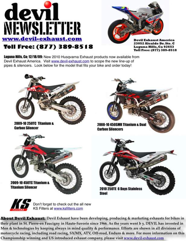 New 2010 Husqvarna Exhaust products now available from Devil Exhaust America.