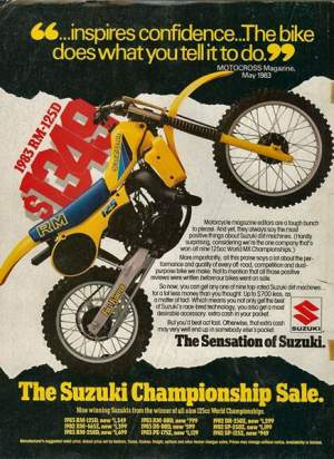 Only $1,349 for a 1983 RM125, they are blowing them out folks! I think that's because the 1984 RM125 was all new.