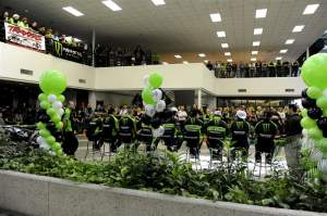 The Kawasaki employees and their family watch with pride as their race teams are presented for 2010.