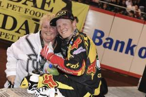 Trey Canard and his mom celebrate his first win of the year.