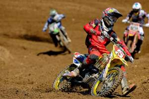 Ryan Dungey leads Ben Townley and Chad Reed during 450cc action at RedBud.