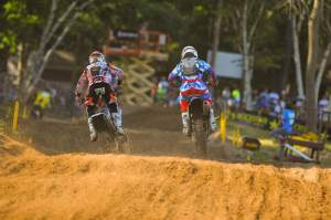Matt Goerke (right) passes Mike Alessi (left) late in the second moto for third. Goerke was third overall, Alessi second.