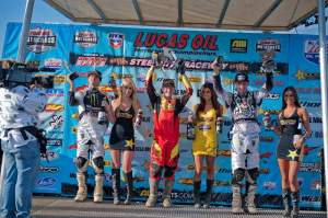 The 250cc podium with Canard (center), Rattray (right) and Pourcel (left).