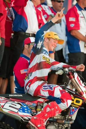 Trey Canard celebrates his first-ever MXoN victory.