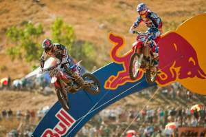 Ben Townley (left) had the outside into the coming right-hand turn on Andrew Short (right), but squared Short off...