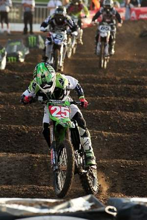 Monster Energy/Pro Circuit Kawasaki's Josh Hansen (25) is leading the charge in the Australian Super X series.