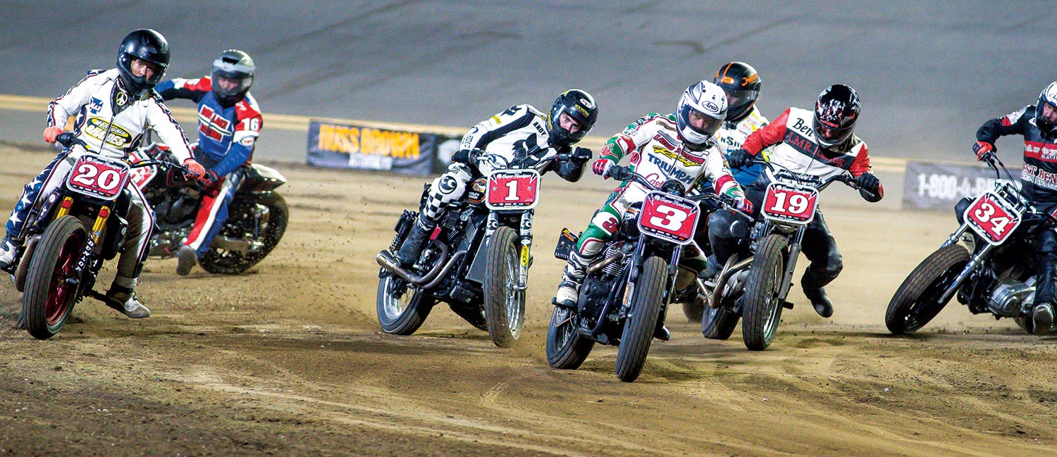 Our Bike Week ended with the American Flat Track TT race on the same dirt as the RCSX earlier in the week. Jeff Ward (above left) raced but failed to qualify. RC and Stanton (above right) were on hand as well but not competing. And of course, there was a cameo appearance by Travis Pastrana (199), who entered a 750cc two-stroke Suzuki in the Super Hooligan race and (literally) smoked the competition. And first-timer Mitch Kendra got some Bike Week riding in at the Hard Rock (above). It was a great way to end a fun week of riding, playing, and just being around a lot of cool motorcycles.