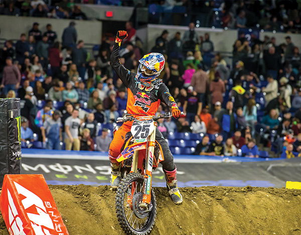 Red Bull KTM's Marvin Musquin at Lucas Oil Stadium in Indianapolis