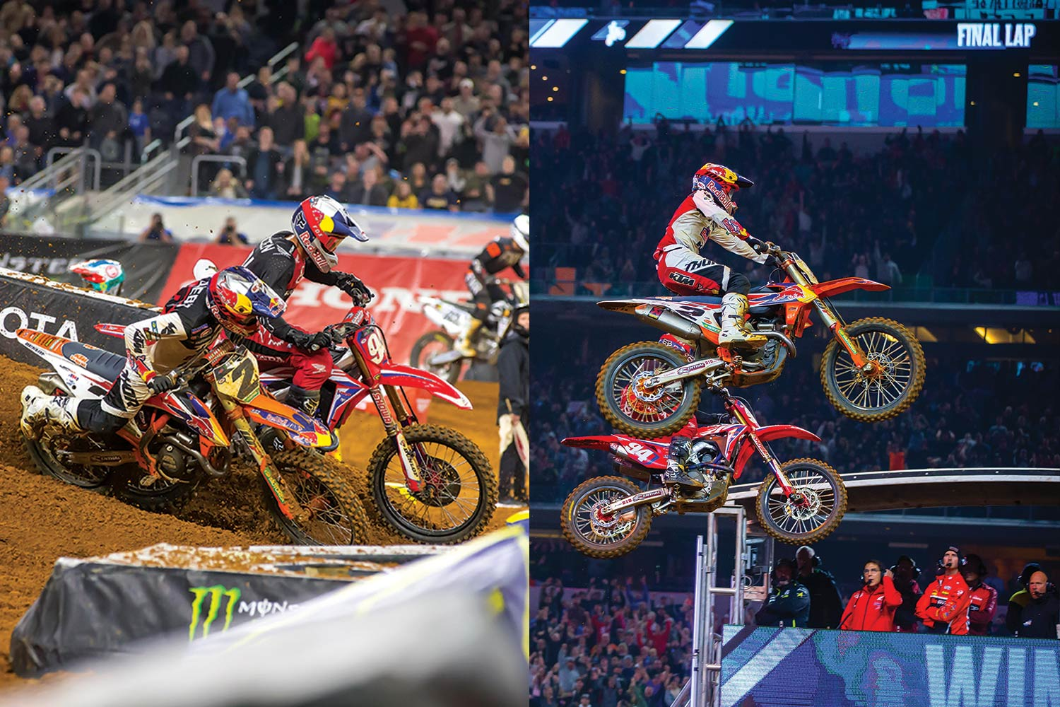 In the 2019 Monster Energy AMA Supercross Championship, Red Bull KTM's Cooper Webb flashed by Honda HRC factory rider Ken Roczen for a photo finish in Arlington, Texas.