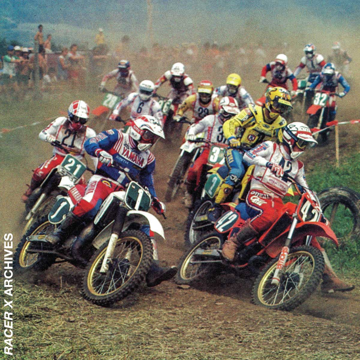 Brian Myerscough (42) battles with Danny LaPorte (1) in 1983