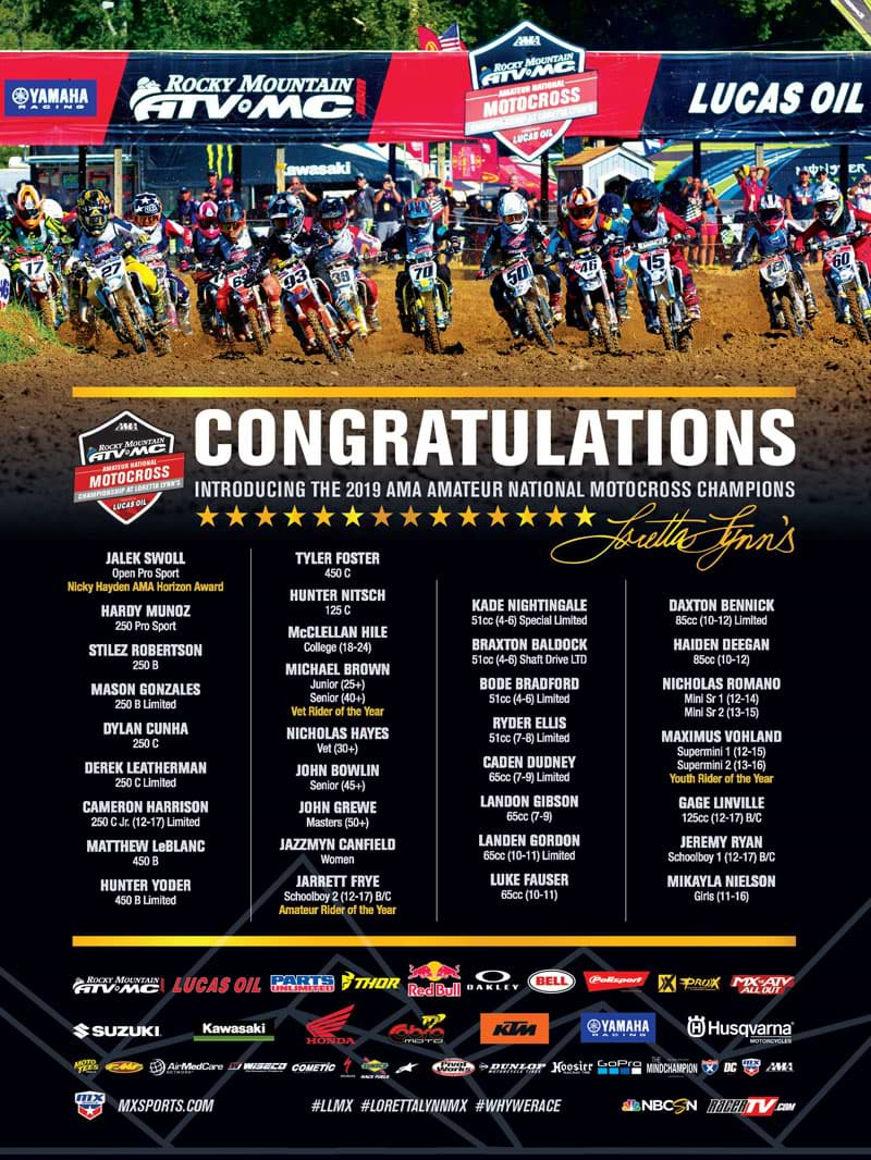 Racer X November 2019 - Rocky Mountain ATV MC Amateur National Motocross Championship Advertisement