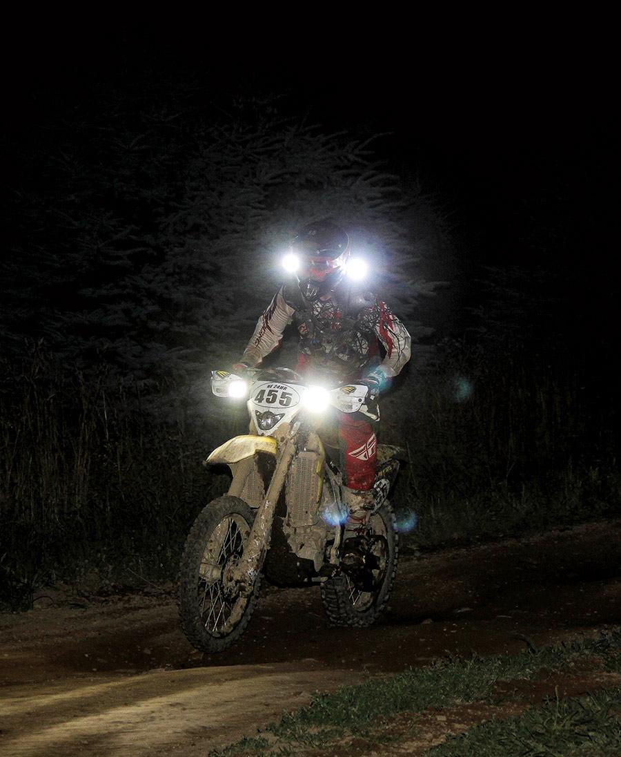 not-so-ideal lighting setup on their bike