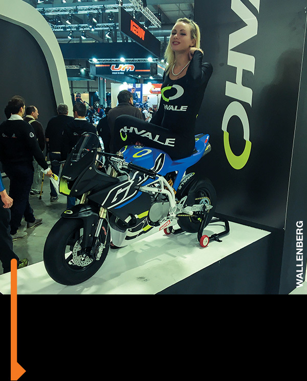 Supermodel downtime at the EICMA show in Milan.