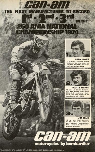 After hiring Marty Tripes at the last second, Can-Am could boast a 1-2-3 in the '74 250 Nationals.