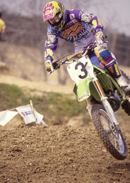 Mike Kiedrowski won his fourth outdoor motocross title in 1993, taking the #1 plate away from Jeff Stanton.
