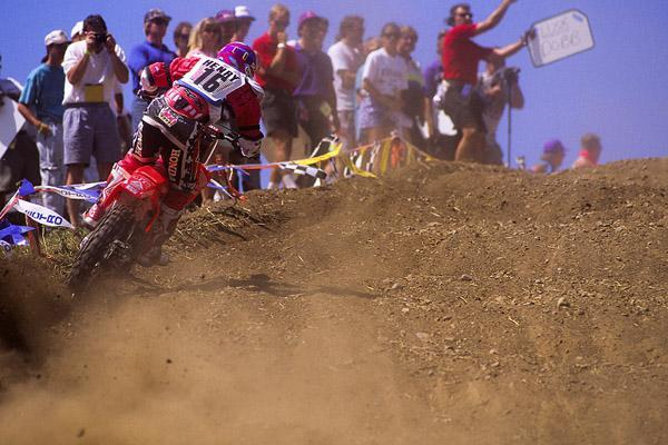 Doug Henry blasts up past the old mechanics' area at Unadilla.