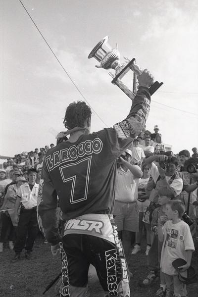 Mike LaRocco celebrates the '94 AMA 250cc National Championship.