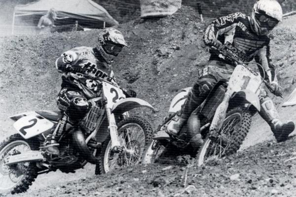 Emig cuts in under McGrath on the old off-camber wall at Budds Creek.